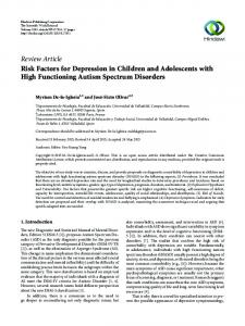 Review Article Risk Factors for Depression in Children and Adolescents with High Functioning Autism Spectrum Disorders