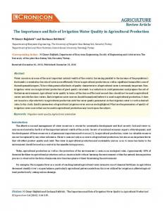 Review Article The Importance and Role of Irrigation Water Quality in Agricultural Production