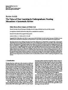 Review Article The Value of Peer Learning in Undergraduate Nursing Education: A Systematic Review