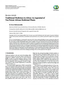 Review Article Traditional Medicines in Africa: An Appraisal of Ten Potent African Medicinal Plants