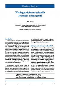 Review Article. Writing articles for scientific journals: a basic guide