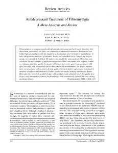 Review Articles. Antidepressant Treatment of Fibromyalgia. A Meta-Analysis and Review
