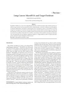 Review Lung Cancer: MicroRNA and Target Database