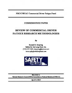 REVIEW OF COMMERCIAL DRIVER FATIGUE RESEARCH METHODOLOGIES