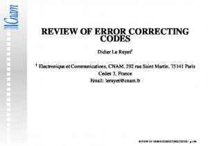 REVIEW OF ERROR CORRECTING CODES