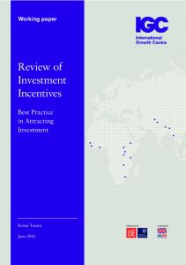 Review of Investment Incentives