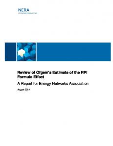 Review of Ofgem s Estimate of the RPI Formula Effect A Report for Energy Networks Association