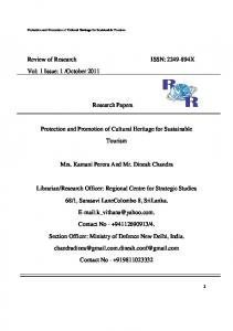 Review of Research ISSN: X. Research Papers. Protection and Promotion of Cultural Heritage for Sustainable. Tourism