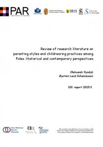 Review of research literature on parenting styles and childrearing practices among Poles. Historical and contemporary perspectives