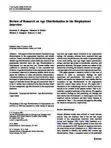 Review of Research on Age Discrimination in the Employment Interview