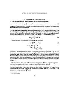 REVIEW OF SIMPLE UNIVARIATE CALCULUS