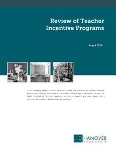 Review of Teacher Incentive Programs