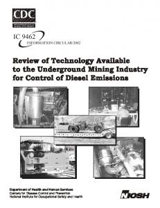 Review of Technology Available to the Underground Mining Industry for Control of Diesel Emissions