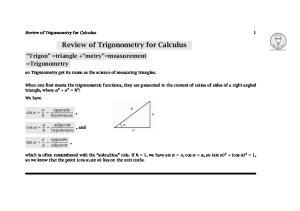 Review of Trigonometry for Calculus