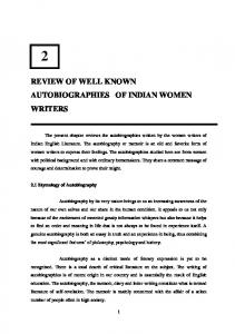 REVIEW OF WELL KNOWN AUTOBIOGRAPHIES OF INDIAN WOMEN WRITERS