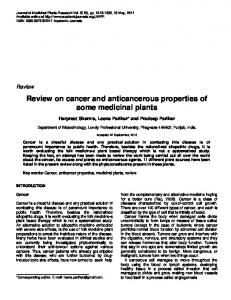 Review on cancer and anticancerous properties of some medicinal plants