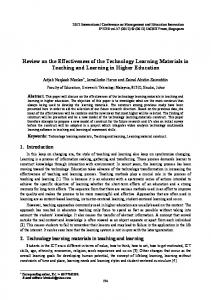 Review on the Effectiveness of the Technology Learning Materials in Teaching and Learning in Higher Education