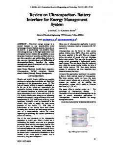 Review on Ultracapacitor- Battery Interface for Energy Management System