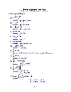 Review problems for Final Exam Mathematics 1300, Calculus 1 Solutions