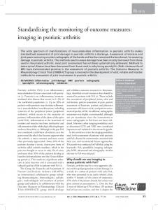Review. Standardizing the monitoring of outcome measures: imaging in psoriatic arthritis