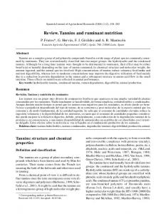 Review. Tannins and ruminant nutrition