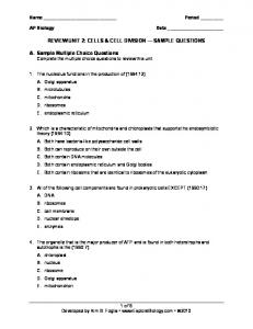 REVIEW UNIT 2: CELLS & CELL DIVISION SAMPLE QUESTIONS