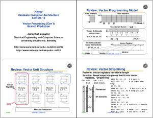 Review: Vector Programming Model Scalar Registers r15