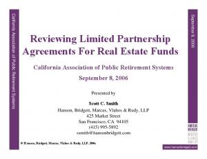 Reviewing Limited Partnership Agreements For Real Estate Funds