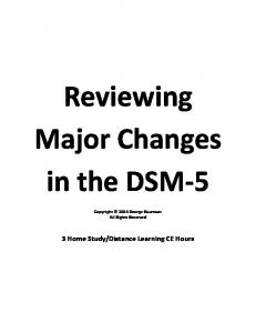 Reviewing Major Changes in the DSM-5
