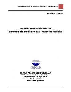 Revised Draft Guidelines for Common Bio-medical Waste Treatment Facilities