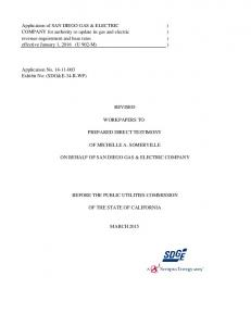 REVISED WORKPAPERS TO PREPARED DIRECT TESTIMONY OF MICHELLE A. SOMERVILLE ON BEHALF OF SAN DIEGO GAS & ELECTRIC COMPANY