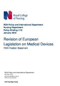 Revision of European Legislation on Medical Devices