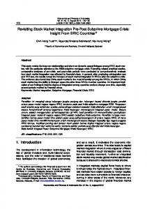 Revisiting Stock Market Integration Pre-Post Subprime Mortgage Crisis: Insight From BRIC Countries