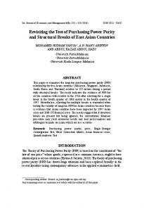 Revisiting the Test of Purchasing Power Parity and Structural Breaks of East Asian Countries