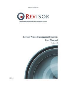 Revisor Video Management System User Manual