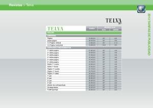 Revistas > Telva 2013 TARIFAS DE PUBLICIDAD COLOR GENERAL ESPACIOS PREFERENTES