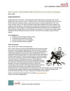 Revit Inside : Autodesk Revit Architecture for the Interior Designer