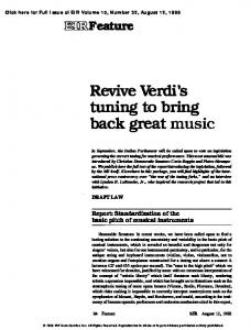 Revive Verdi's tuning to bring back great music