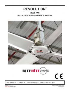 REVOLUTION HVLS FAN INSTALLATION AND OWNER S MANUAL