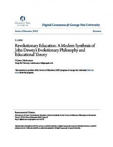 Revolutionary Education: A Modern Synthesis of John Dewey's Evolutionary Philosophy and Educational Theory
