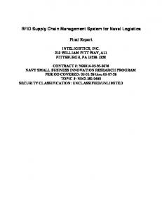 RFID Supply Chain Management System for Naval Logistics. Final Report