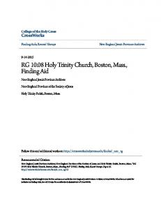 RG Holy Trinity Church, Boston, Mass., Finding Aid