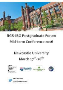 RGS-IBG Postgraduate Forum Mid-Term Conference 2016