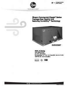 Rheem Commercial Classic Series Package Gas Electric Unit featuring HumidiDry Technology