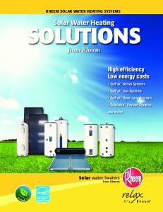 RHEEM SOLAR WATER HEATING SYSTEMS