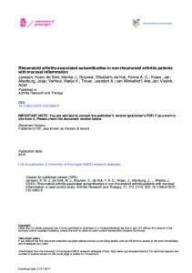 Rheumatoid arthritis-associated autoantibodies in non-rheumatoid arthritis patients with mucosal inflammation