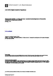 Rheumatoid arthritis : of mice and men : towards the development of innovative therapies for rheumatoid arthritis Gerlag, D.M