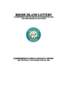 RHODE ISLAND LOTTERY A COMPONENT UNIT OF THE STATE OF RHODE ISLAND AND PROVIDENCE PLANTATIONS