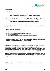RHODIA REPORTS FIRST QUARTER 2011 RESULTS