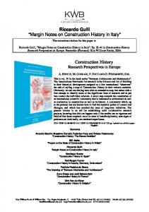 Riccardo Gulli Margin Notes on Construction History in Italy
